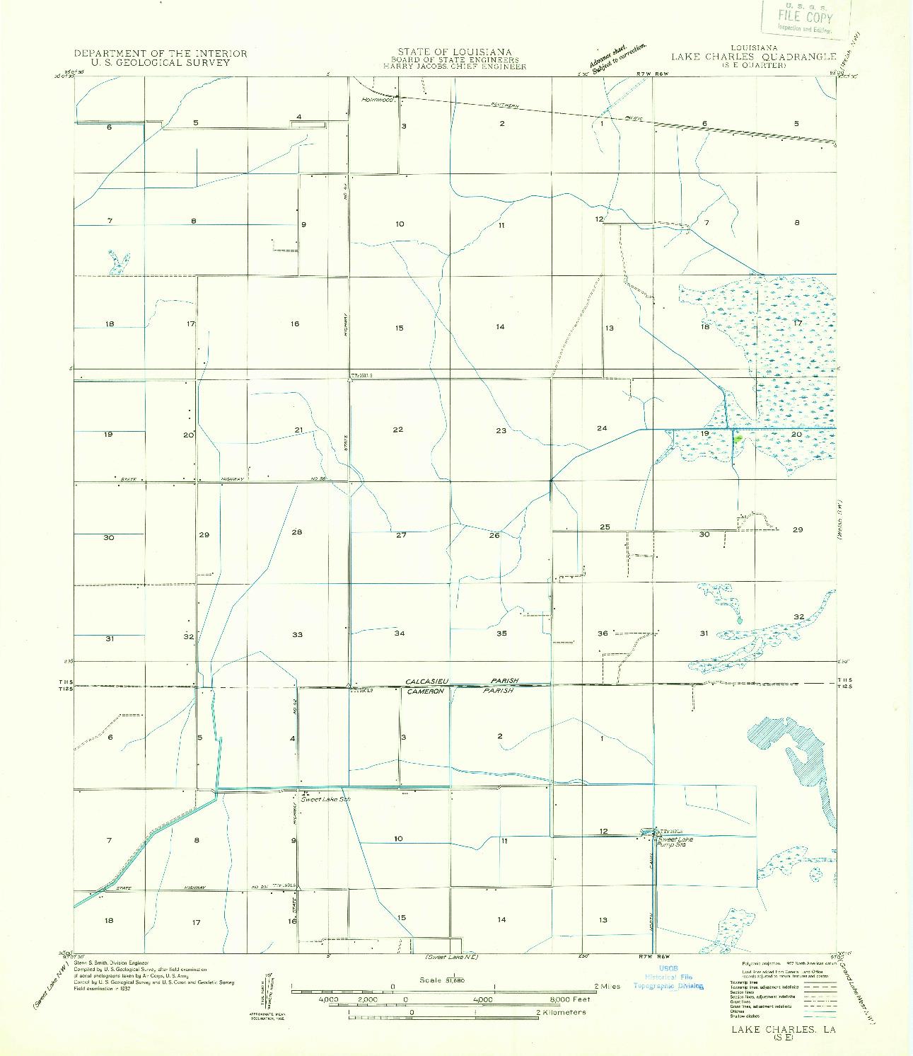 USGS 1:31680-SCALE QUADRANGLE FOR LAKE CHARLES SE, LA 1932