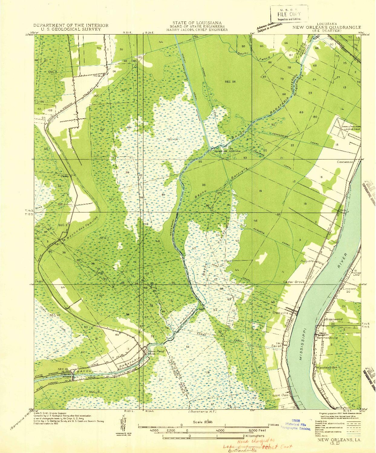 USGS 1:31680-SCALE QUADRANGLE FOR NEW ORLEANS SE, LA 1932