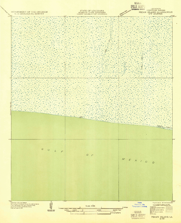 USGS 1:31680-SCALE QUADRANGLE FOR PECAN ISLAND SW, LA 1932