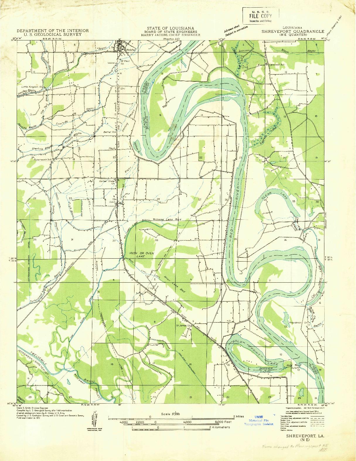USGS 1:31680-SCALE QUADRANGLE FOR SHREVEPORT NE, LA 1932