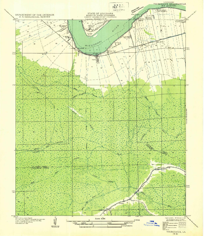 USGS 1:31680-SCALE QUADRANGLE FOR THIBODAUX NE, LA 1932