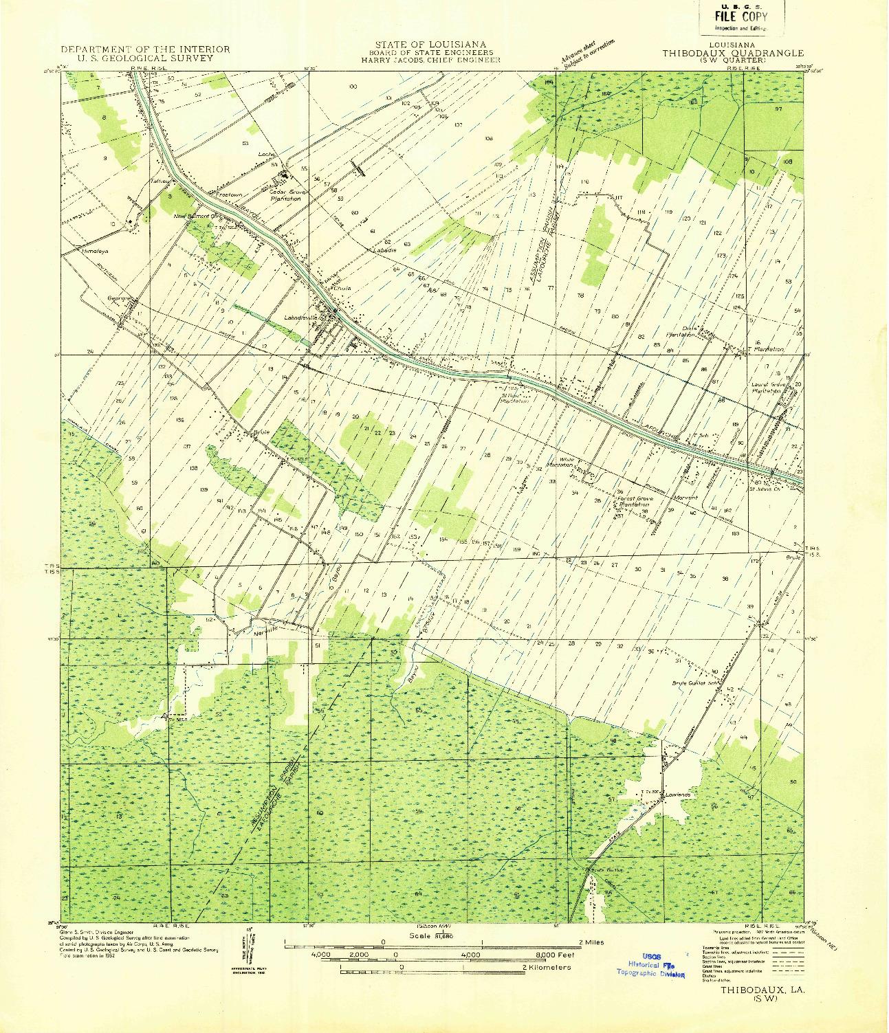 USGS 1:31680-SCALE QUADRANGLE FOR THIBODAUX SW, LA 1932