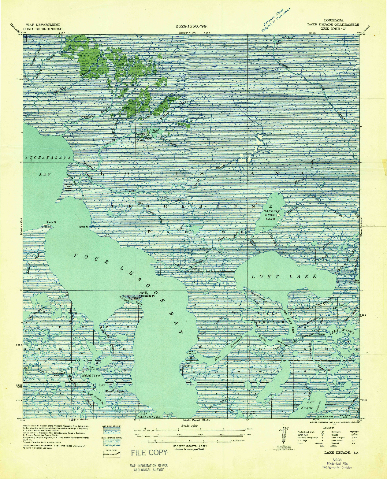 USGS 1:62500-SCALE QUADRANGLE FOR LAKE DECADE, LA 1932