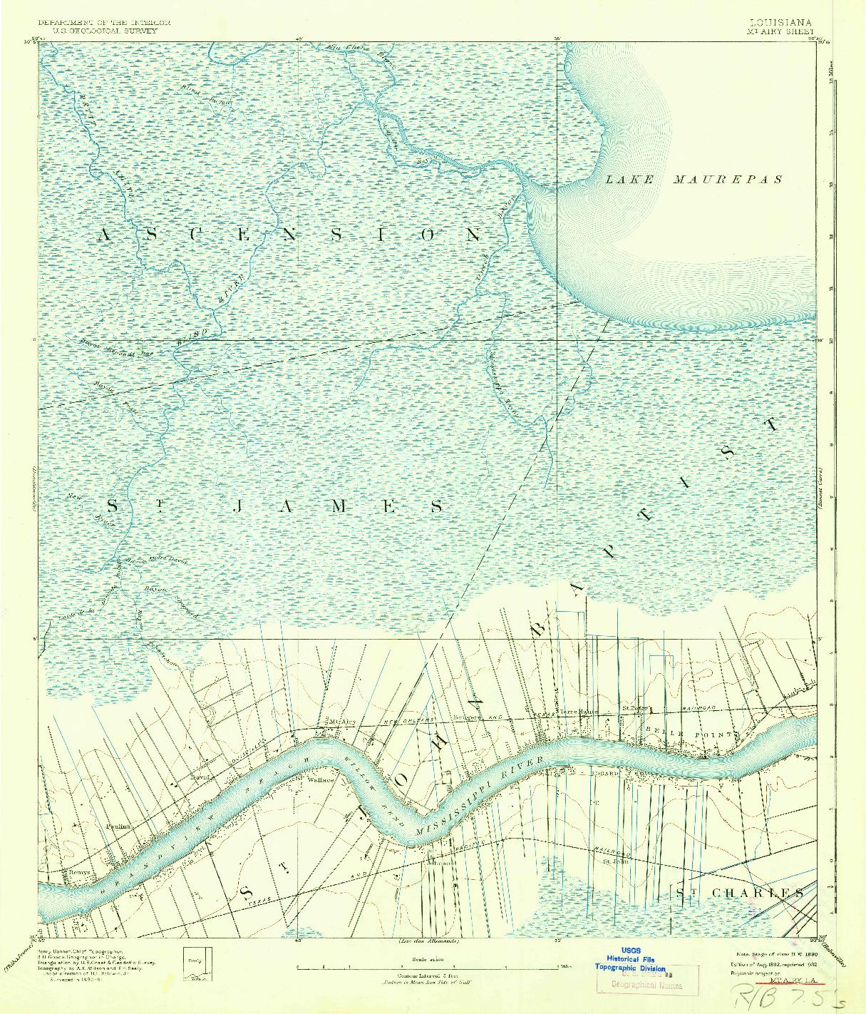 USGS 1:62500-SCALE QUADRANGLE FOR MOUNT AIRY, LA 1892