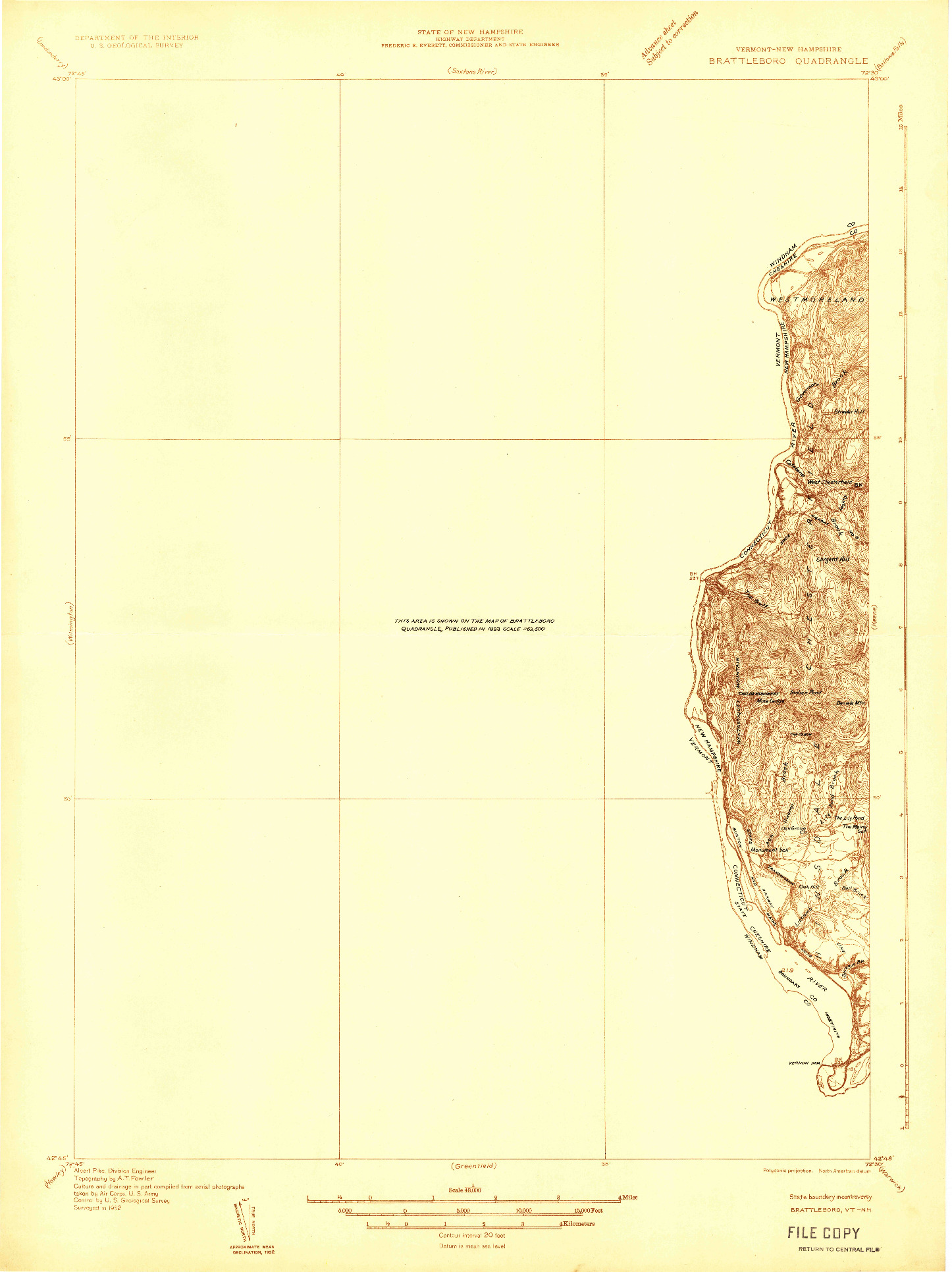 USGS 1:48000-SCALE QUADRANGLE FOR BRATTLEBORO, VT 1932