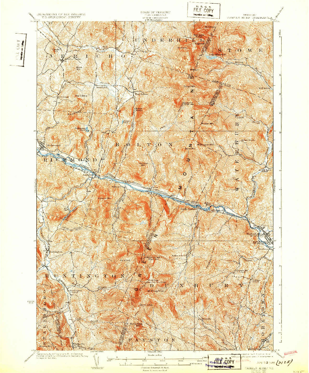 USGS 1:62500-SCALE QUADRANGLE FOR CAMELS HUMP, VT 1924