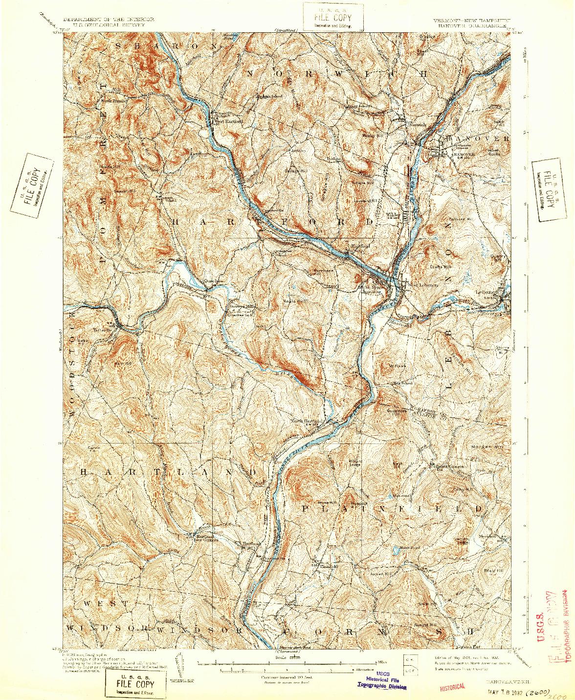 USGS 1:62500-SCALE QUADRANGLE FOR HANOVER, VT 1908