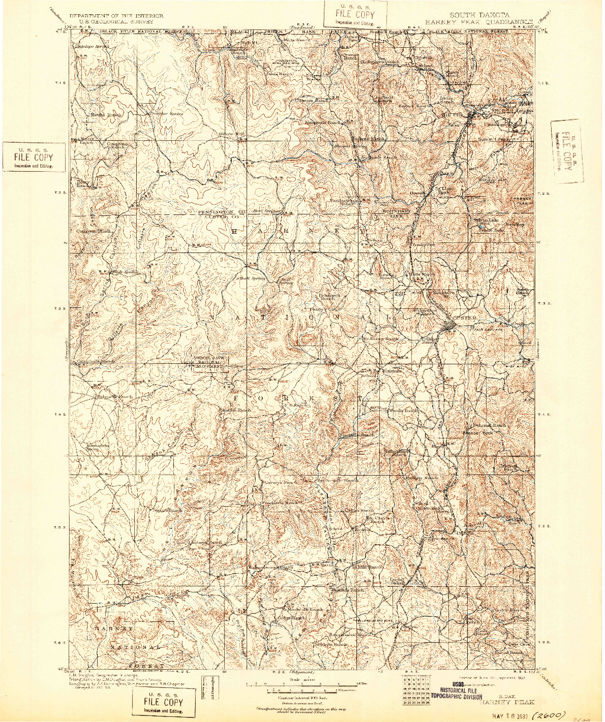 USGS 1:125000-SCALE QUADRANGLE FOR HARNEY PEAK, SD 1901