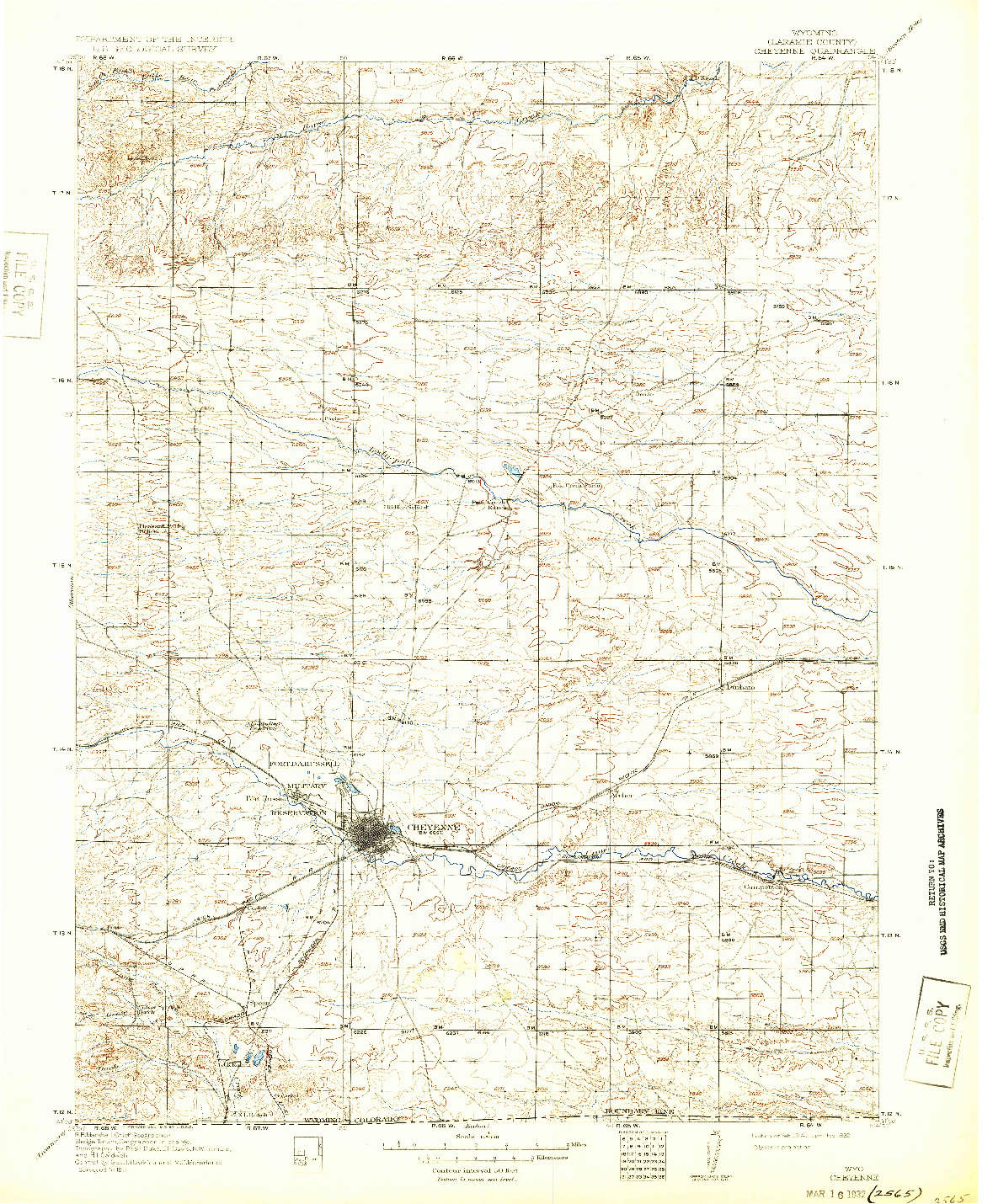 USGS 1:125000-SCALE QUADRANGLE FOR CHEYENNE, WY 1914