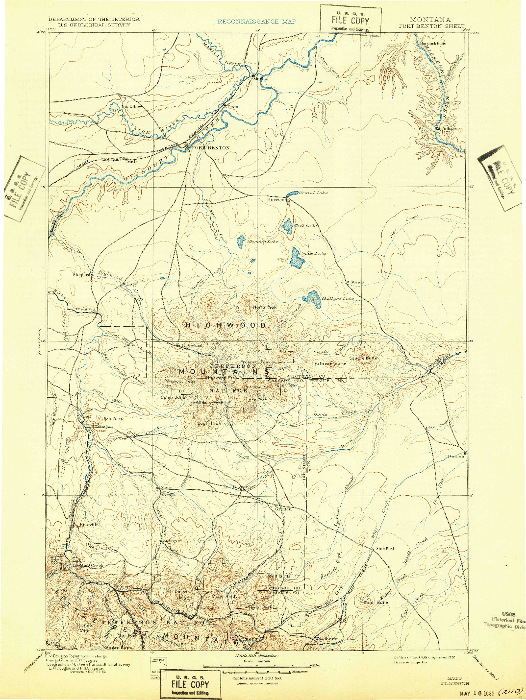 USGS 1:250000-SCALE QUADRANGLE FOR FORT BENTON, MT 1897