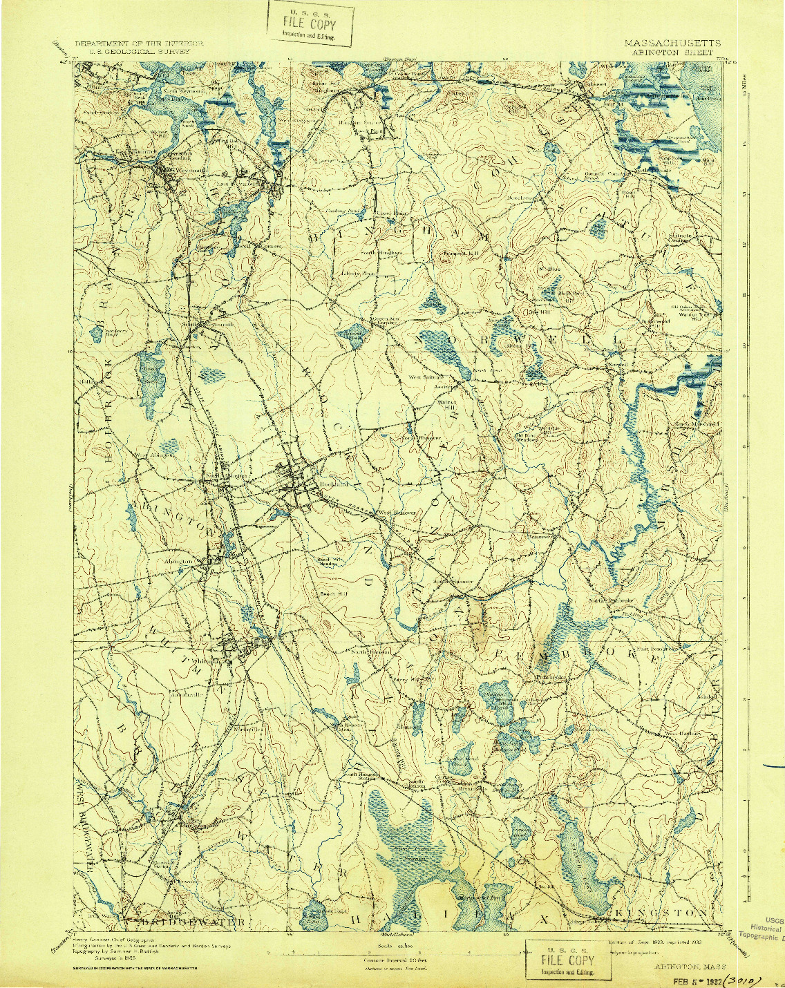 USGS 1:62500-SCALE QUADRANGLE FOR ABINGTON, MA 1893