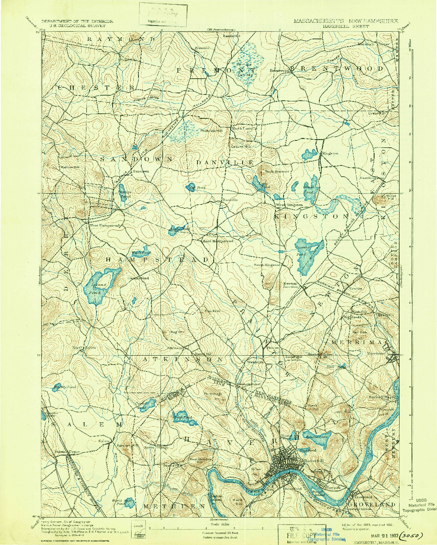 USGS 1:62500-SCALE QUADRANGLE FOR HAVERHILL, MA 1893