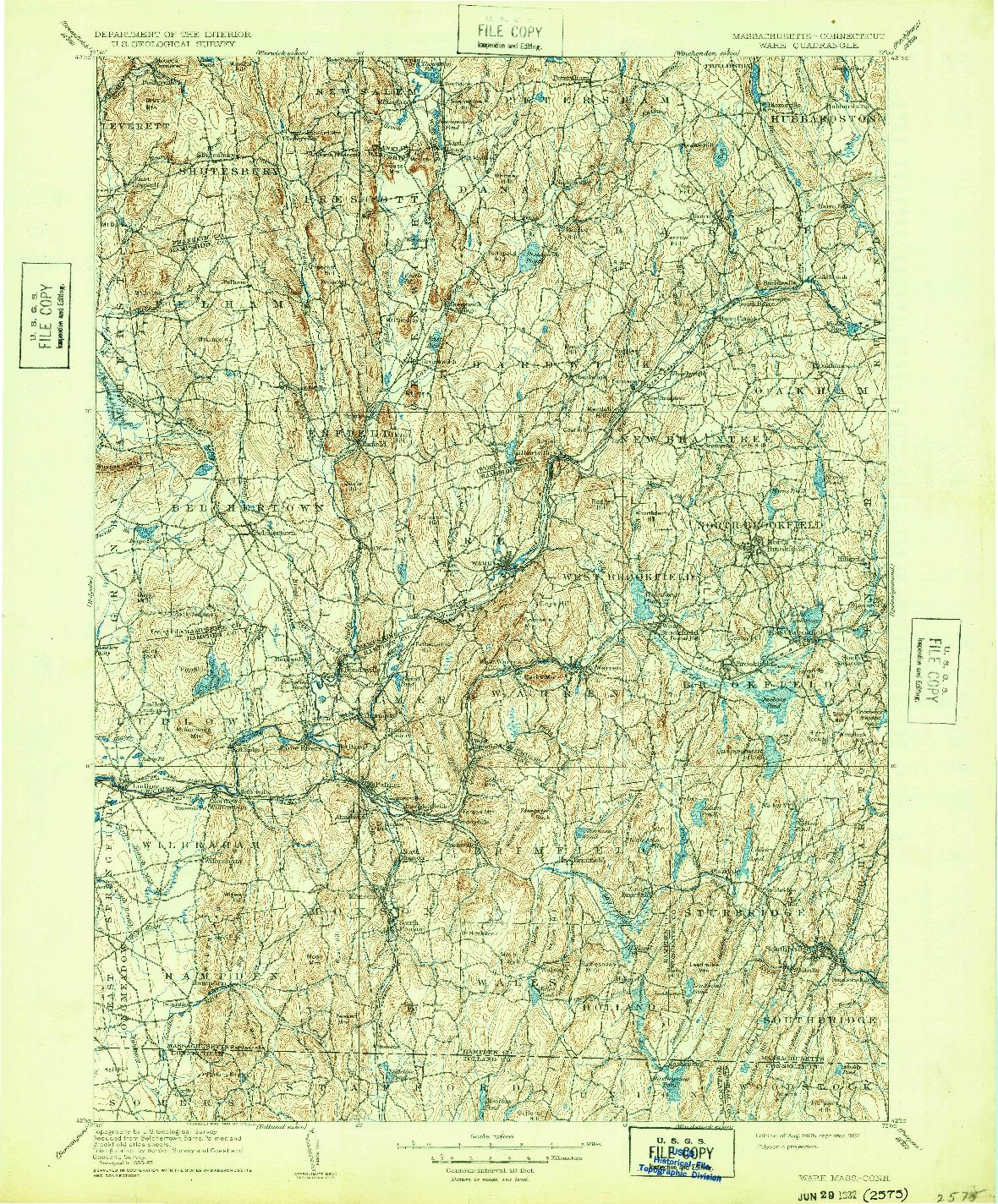 USGS 1:125000-SCALE QUADRANGLE FOR WARE, MA 1908