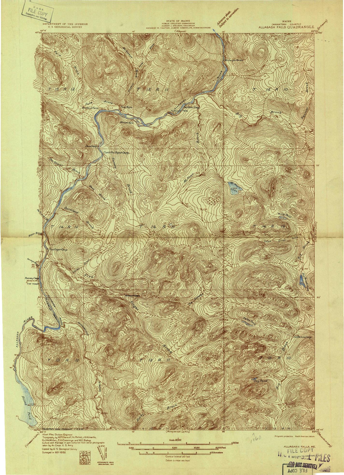 USGS 1:48000-SCALE QUADRANGLE FOR ALLAGASH FALLS, ME 1932