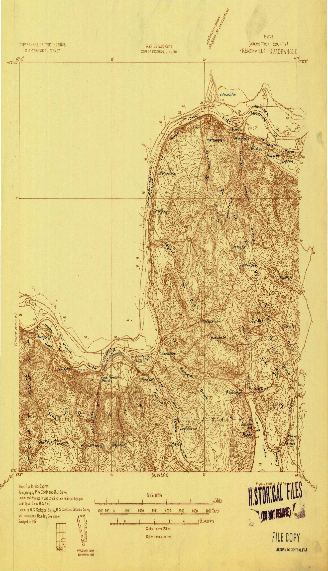 USGS 1:48000-SCALE QUADRANGLE FOR FRENCHVILLE, ME 1932