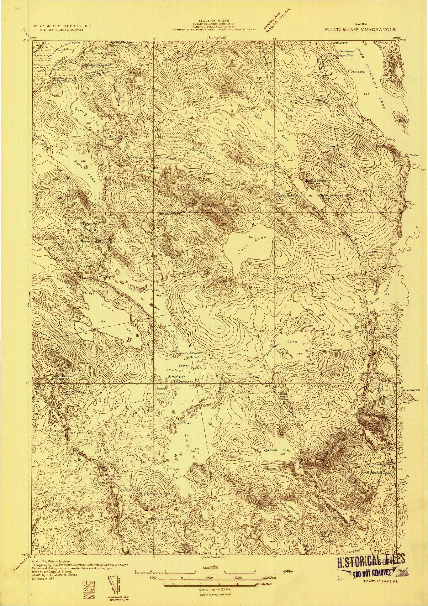 USGS 1:48000-SCALE QUADRANGLE FOR NICATOUS LAKE, ME 1932