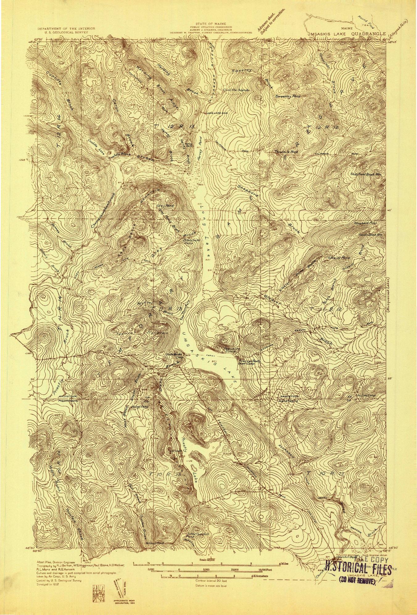 USGS 1:48000-SCALE QUADRANGLE FOR UMSASKIS LAKE, ME 1932