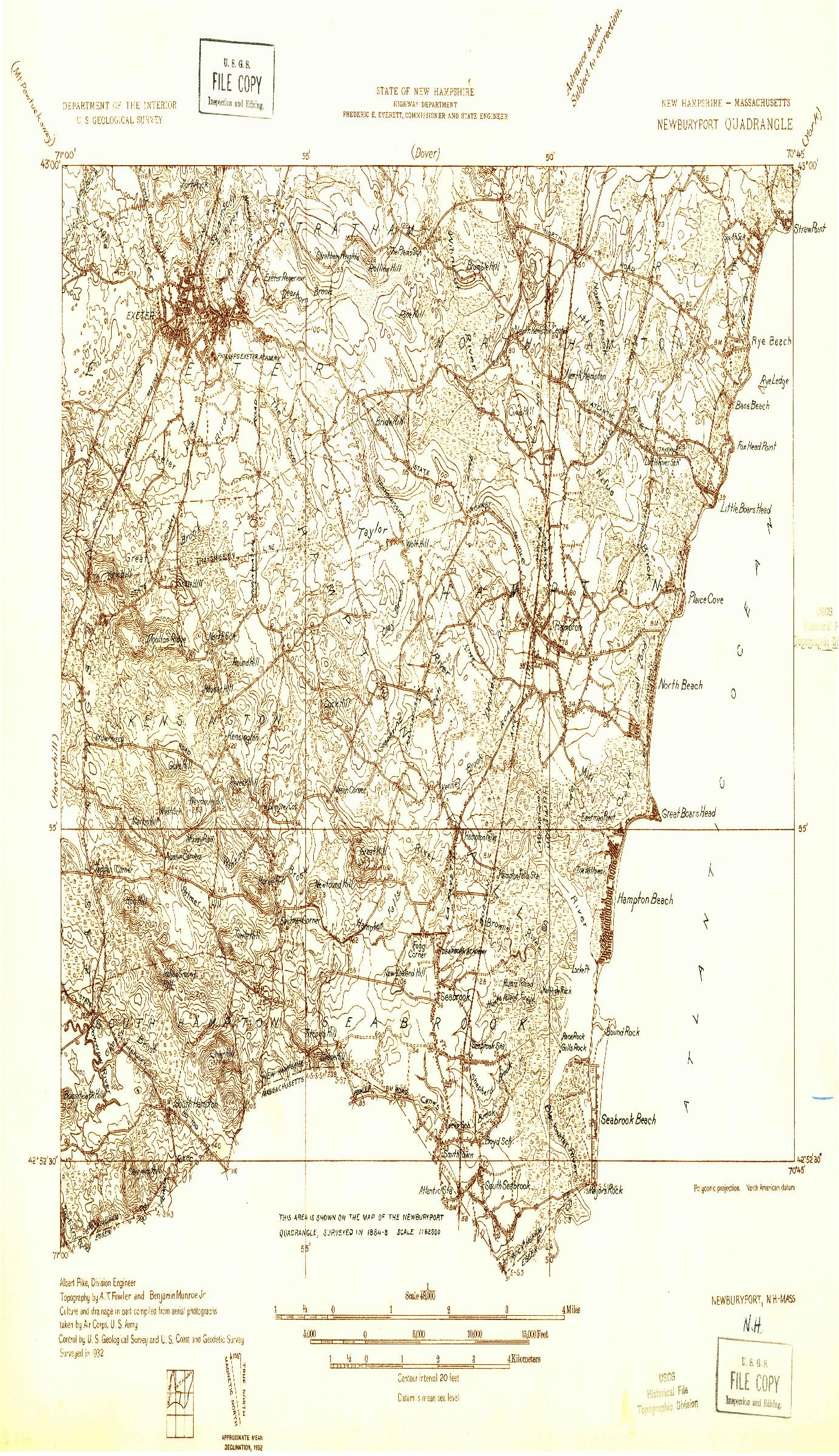 USGS 1:48000-SCALE QUADRANGLE FOR NEWBURYPORT, NH 1932