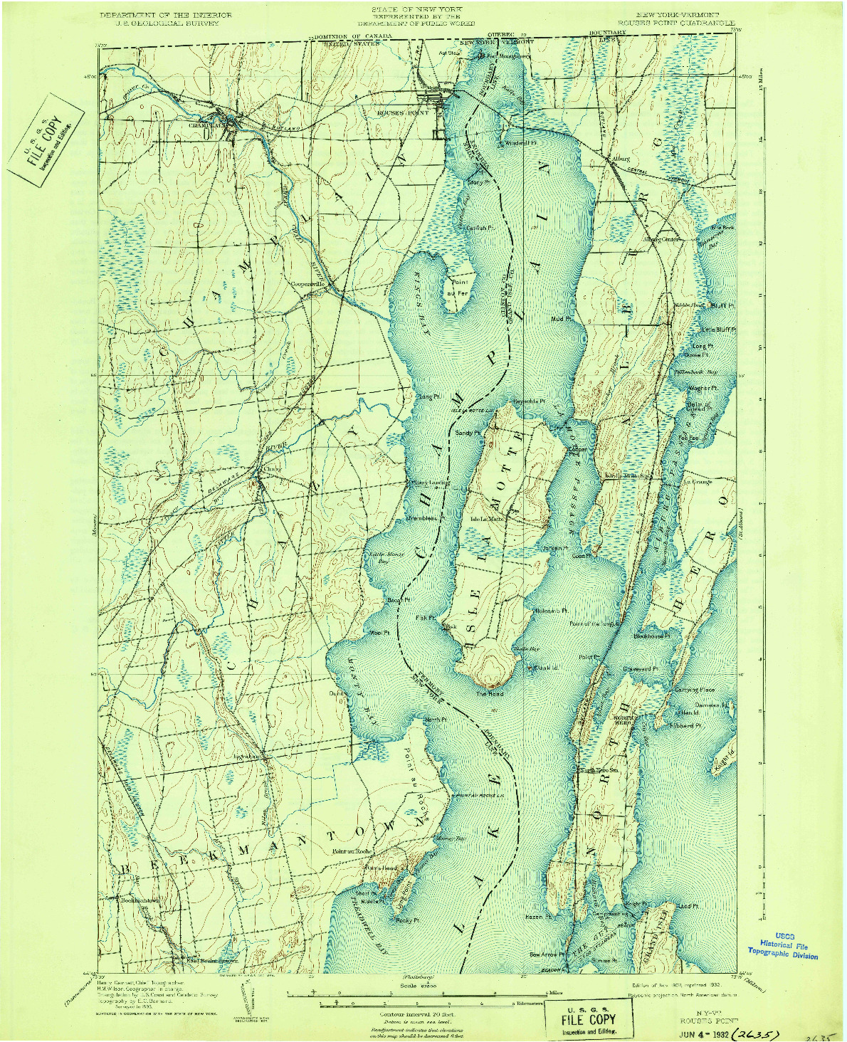 USGS 1:62500-SCALE QUADRANGLE FOR ROUSES POINT, NY 1907