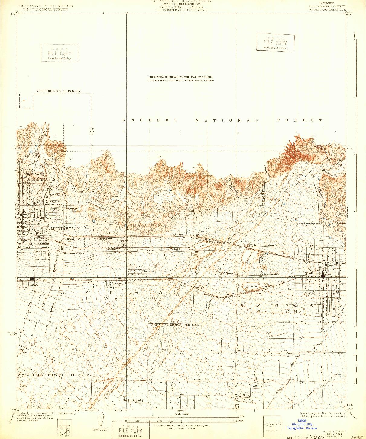 USGS 1:24000-SCALE QUADRANGLE FOR AZUSA, CA 1928