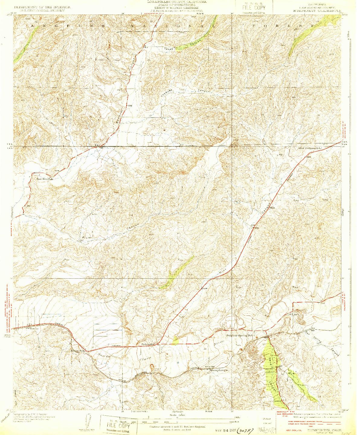 USGS 1:24000-SCALE QUADRANGLE FOR HUMPHREYS, CA 1932