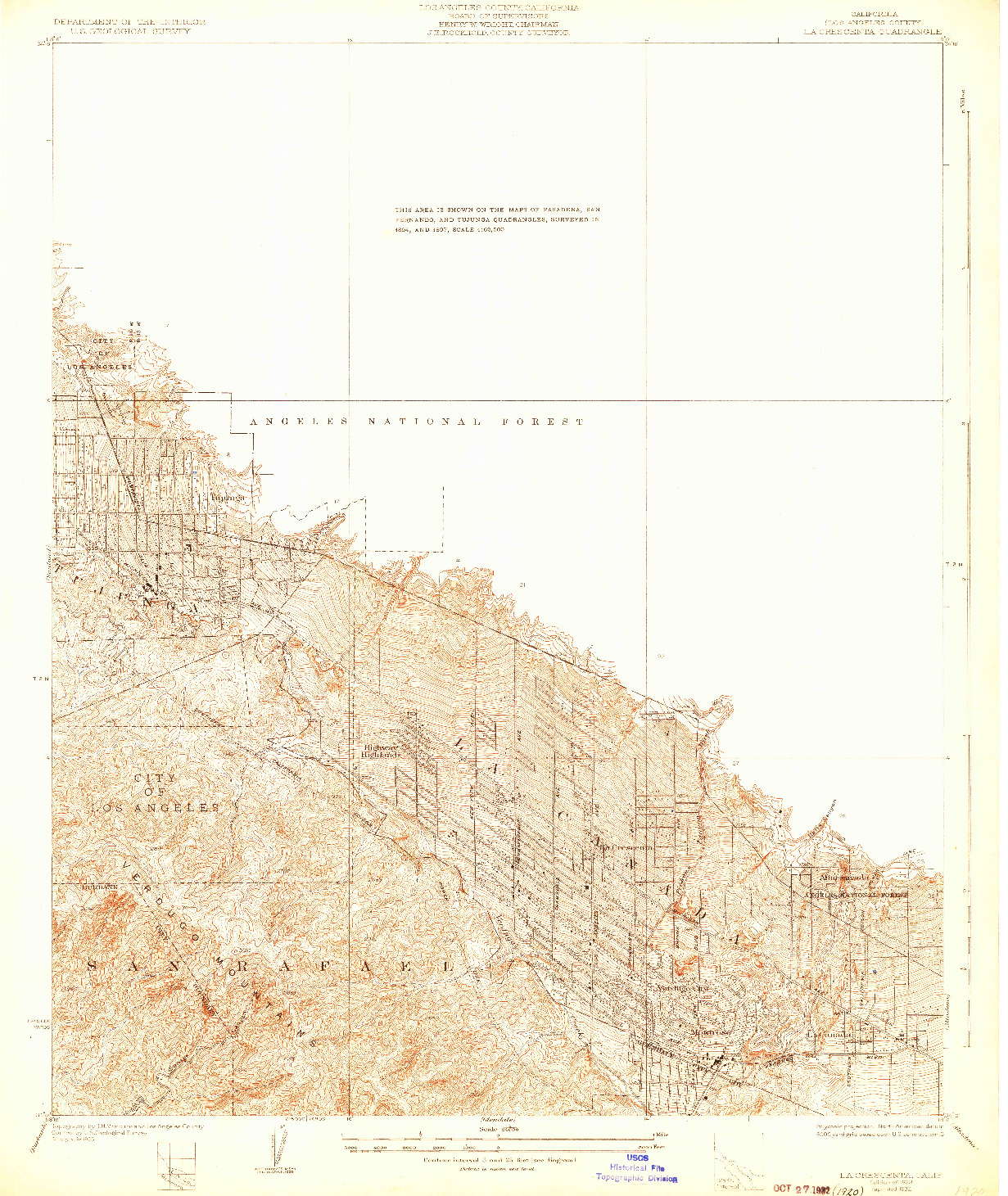 USGS 1:24000-SCALE QUADRANGLE FOR LA CRESCENTA, CA 1928
