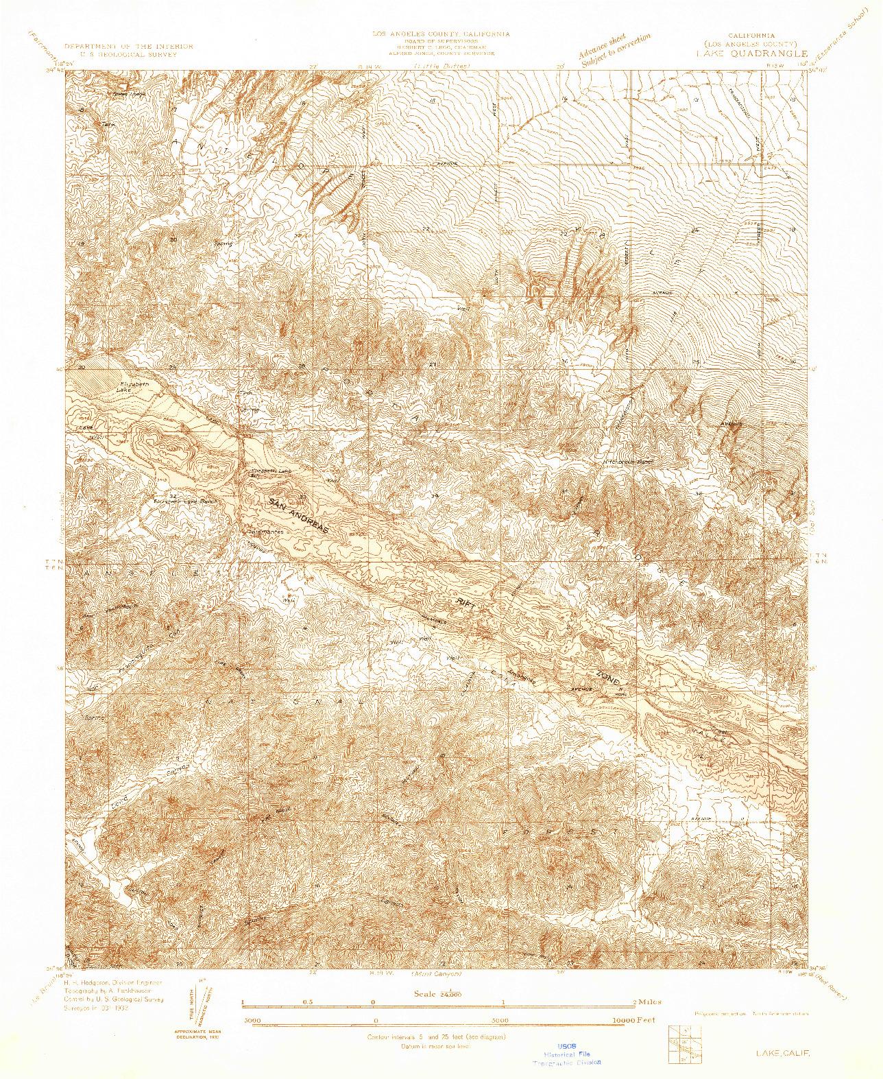 USGS 1:24000-SCALE QUADRANGLE FOR LAKE, CA 1932