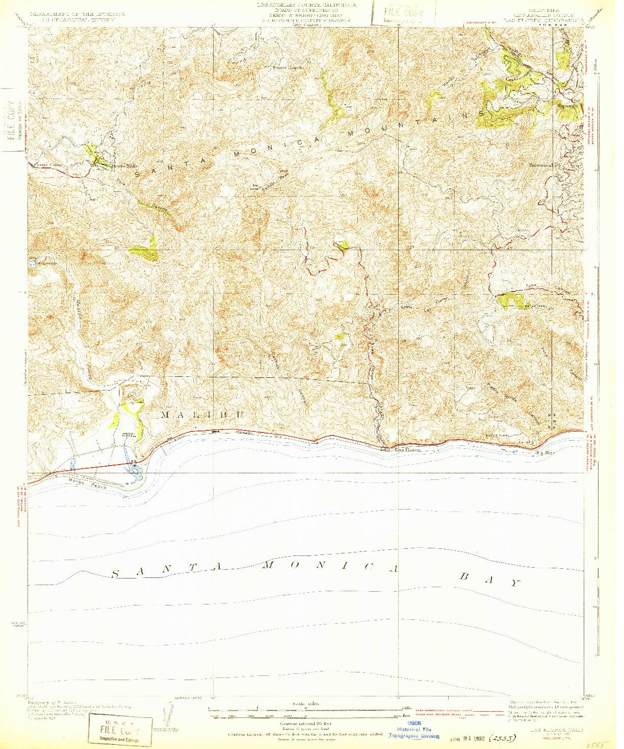 USGS 1:24000-SCALE QUADRANGLE FOR LAS FLORES, CA 1932