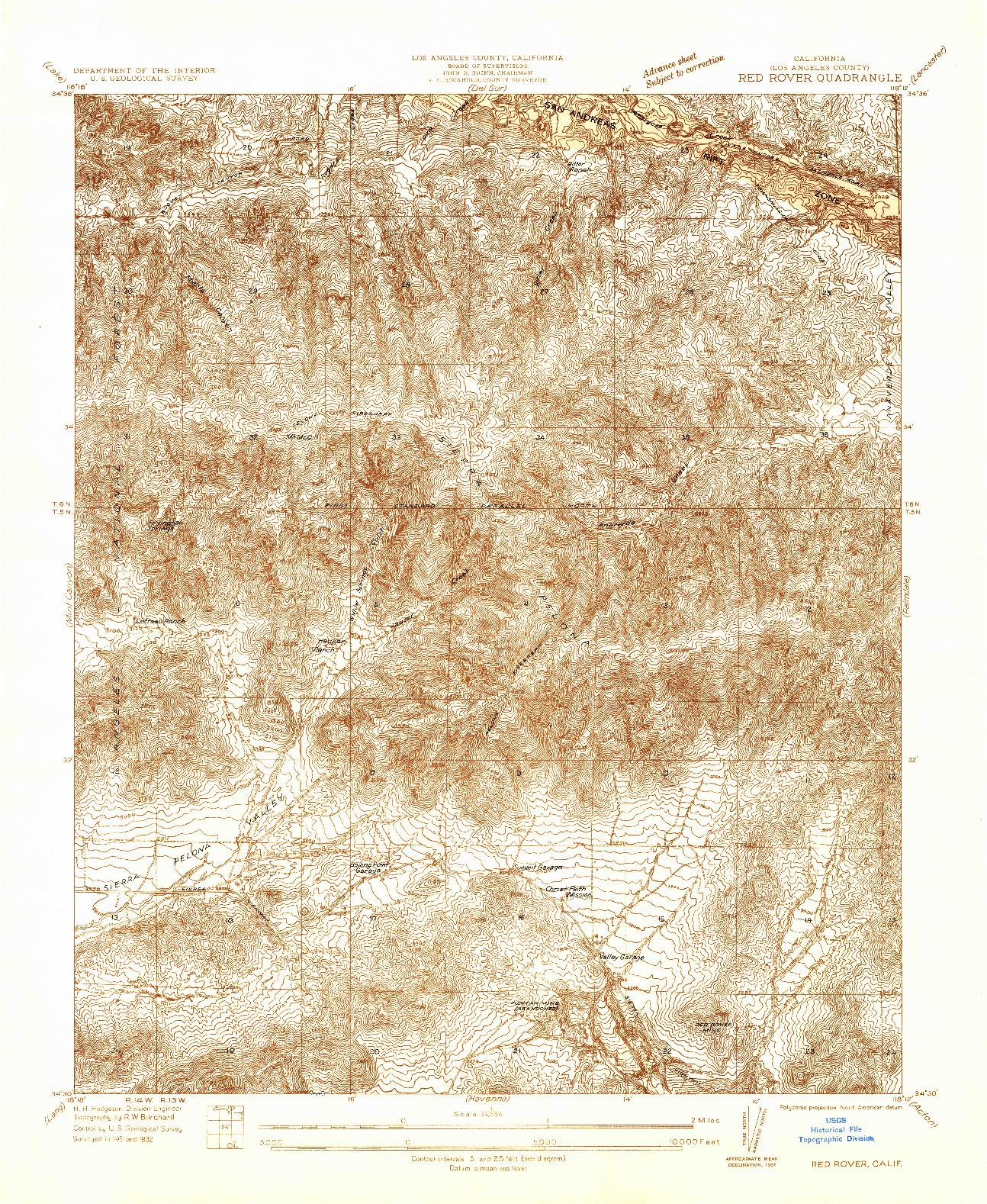 USGS 1:24000-SCALE QUADRANGLE FOR RED ROVER, CA 1932