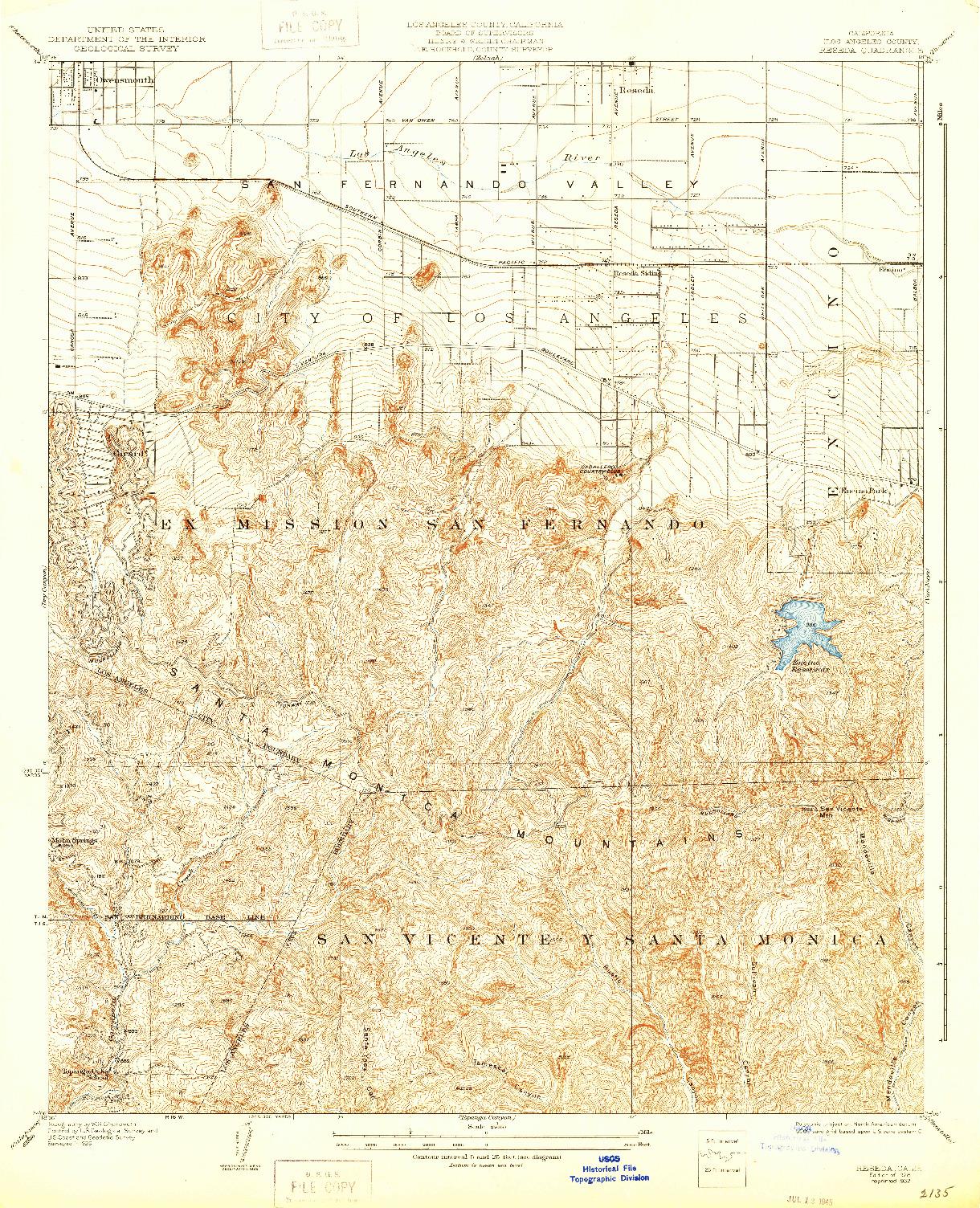 USGS 1:24000-SCALE QUADRANGLE FOR RESEDA, CA 1928