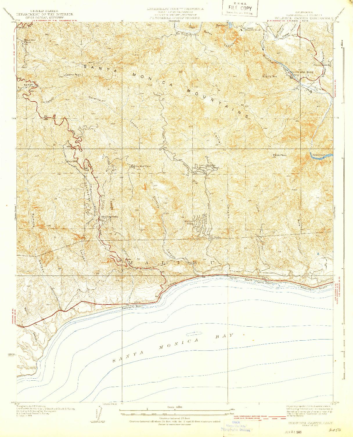 USGS 1:24000-SCALE QUADRANGLE FOR SOLSTICE CANYON, CA 1932