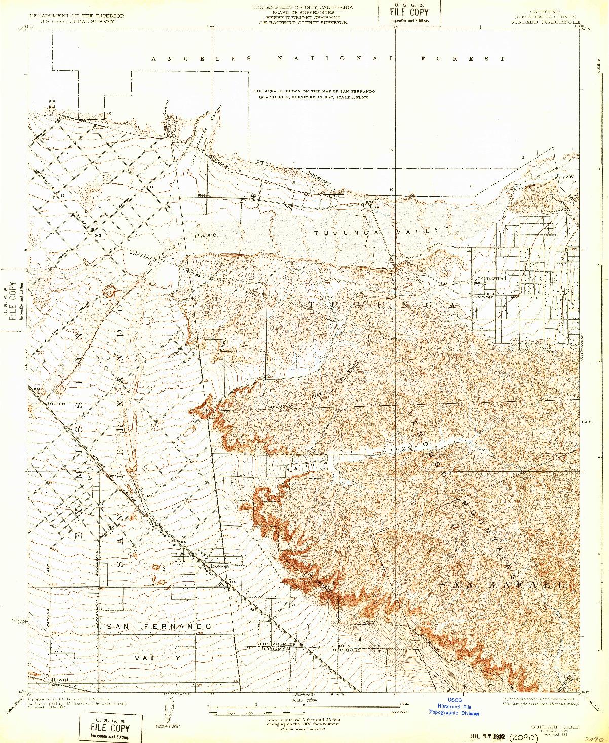 USGS 1:24000-SCALE QUADRANGLE FOR SUNLAND, CA 1932