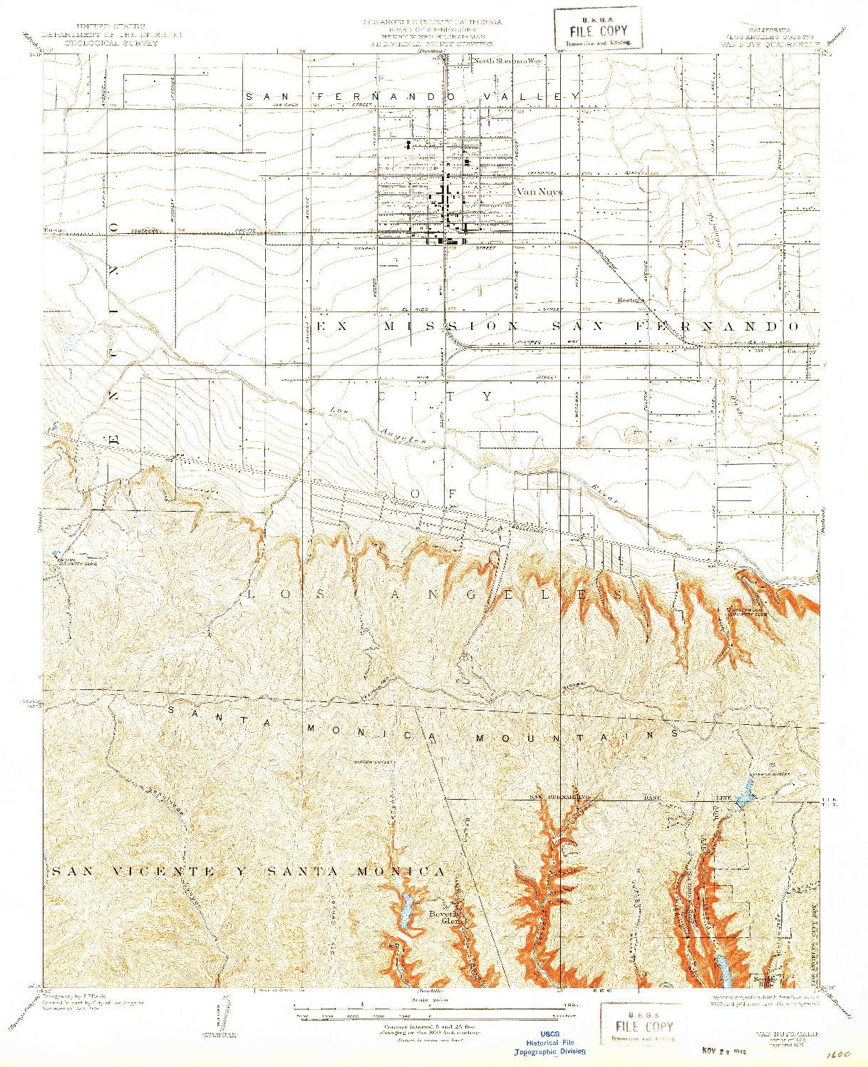 USGS 1:24000-SCALE QUADRANGLE FOR VAN NUYS, CA 1926