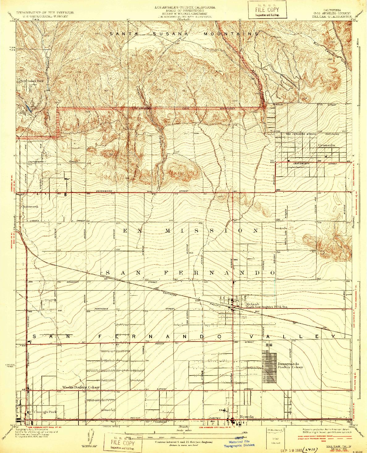 USGS 1:24000-SCALE QUADRANGLE FOR ZELZAH, CA 1932
