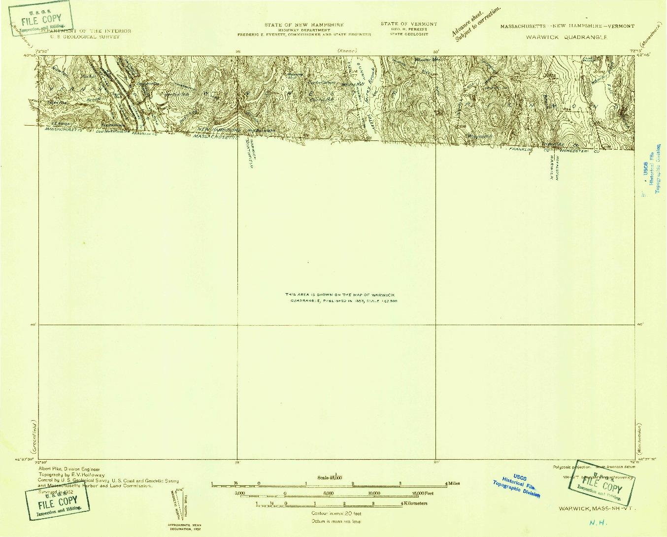 USGS 1:48000-SCALE QUADRANGLE FOR WARWICK, MA 1932