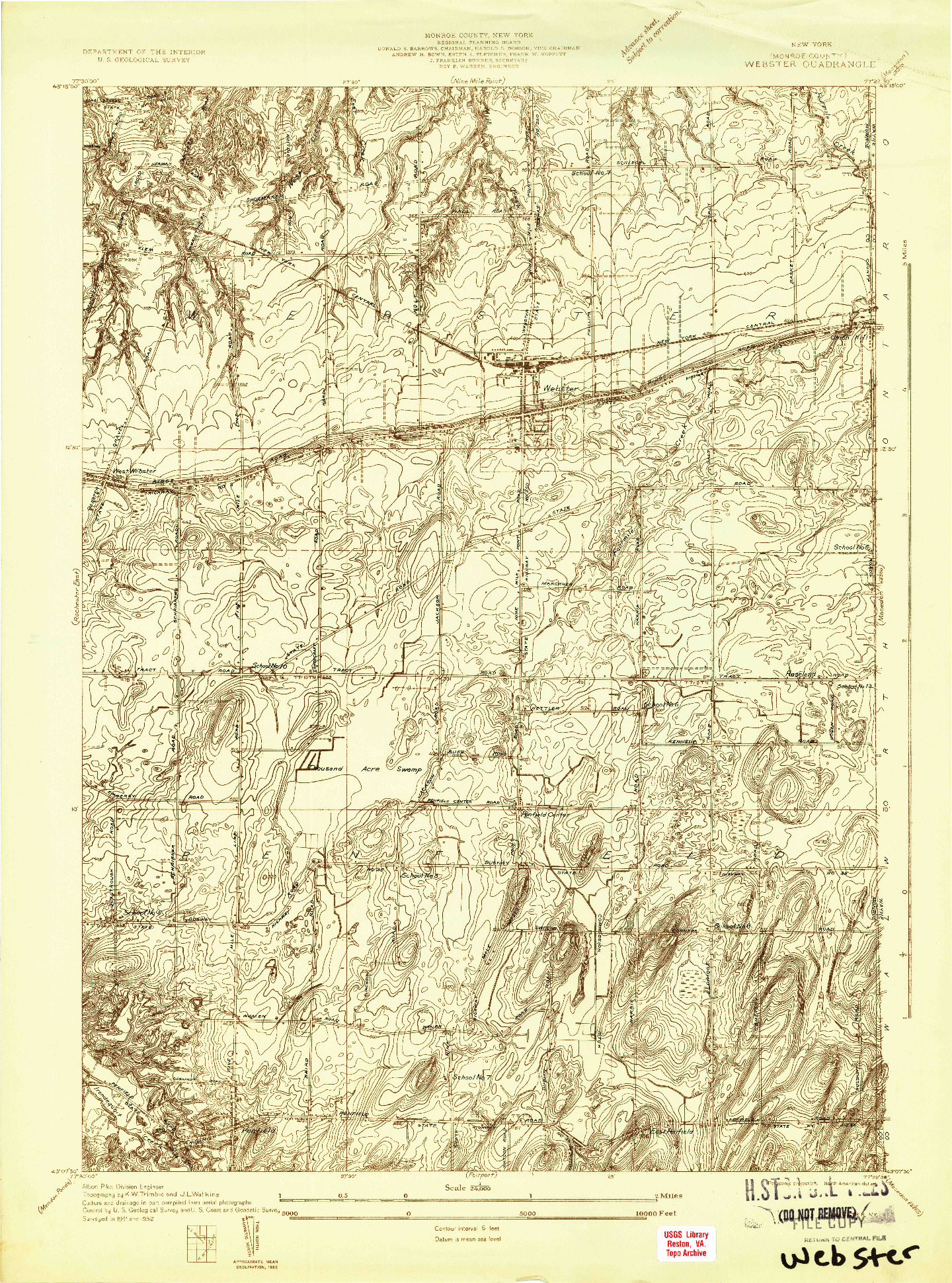 USGS 1:24000-SCALE QUADRANGLE FOR WEBSTER, NY 1932
