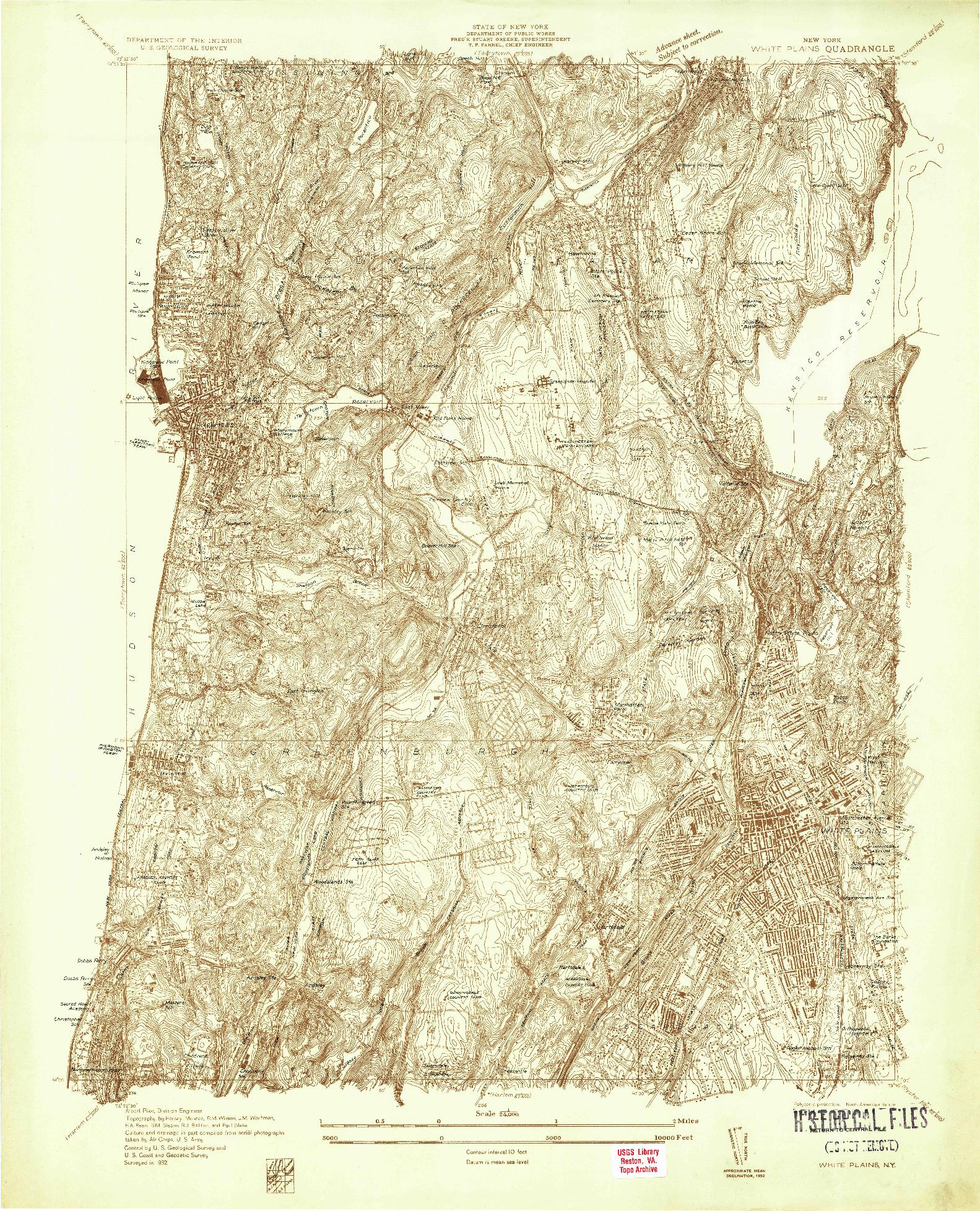 USGS 1:24000-SCALE QUADRANGLE FOR WHITE PLAINS, NY 1932