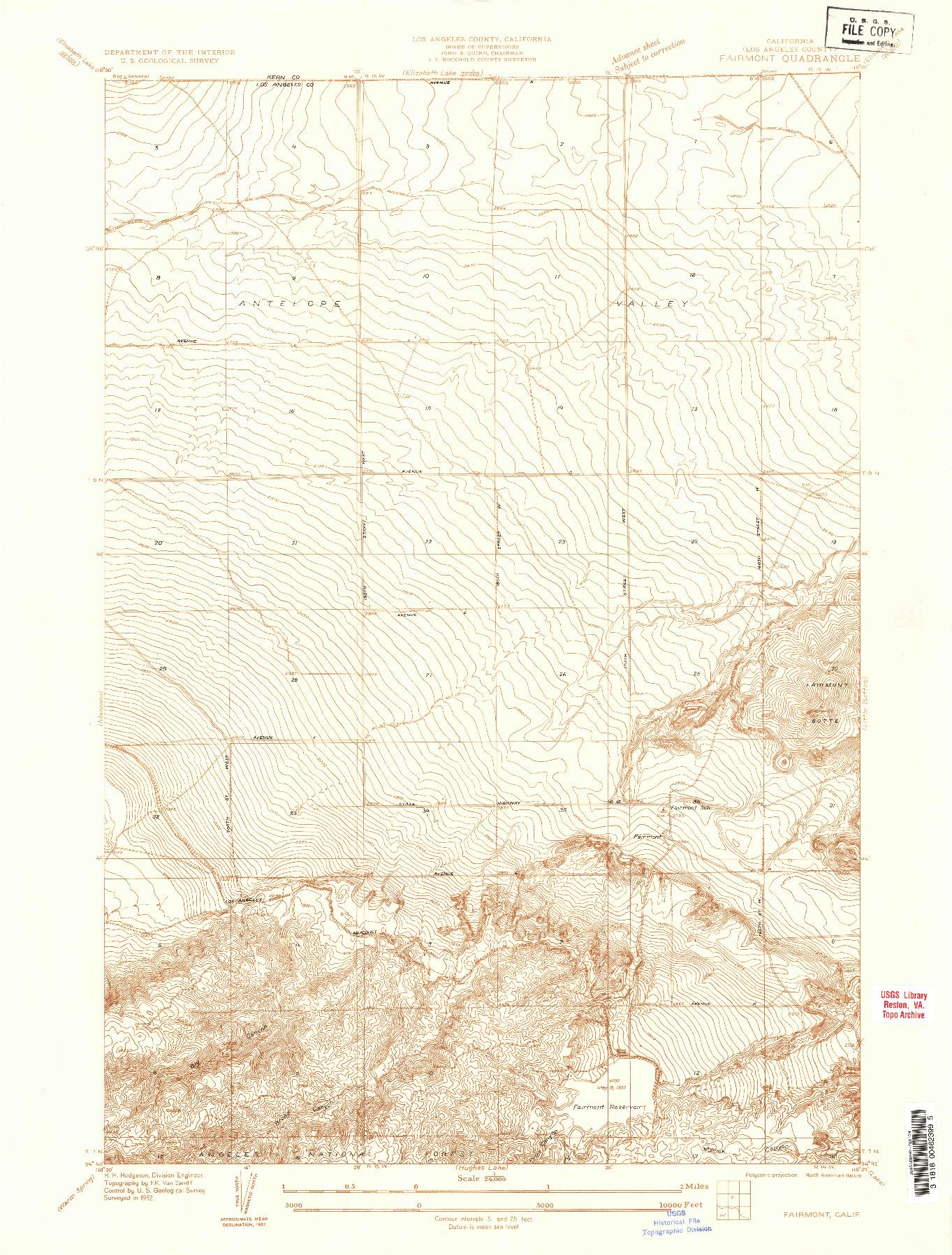 USGS 1:24000-SCALE QUADRANGLE FOR FAIRMONT, CA 1932