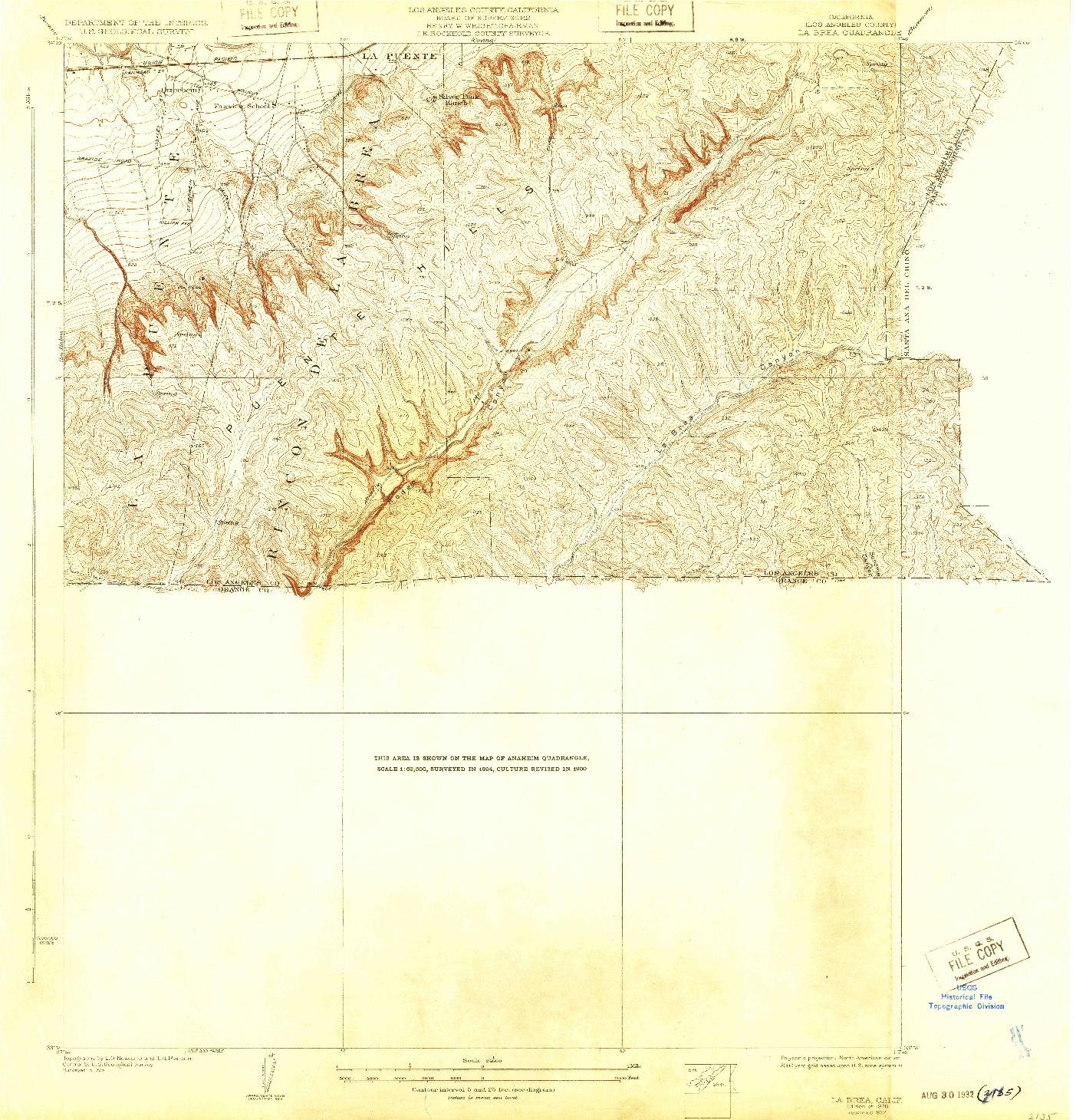 USGS 1:24000-SCALE QUADRANGLE FOR LA BREA, CA 1928
