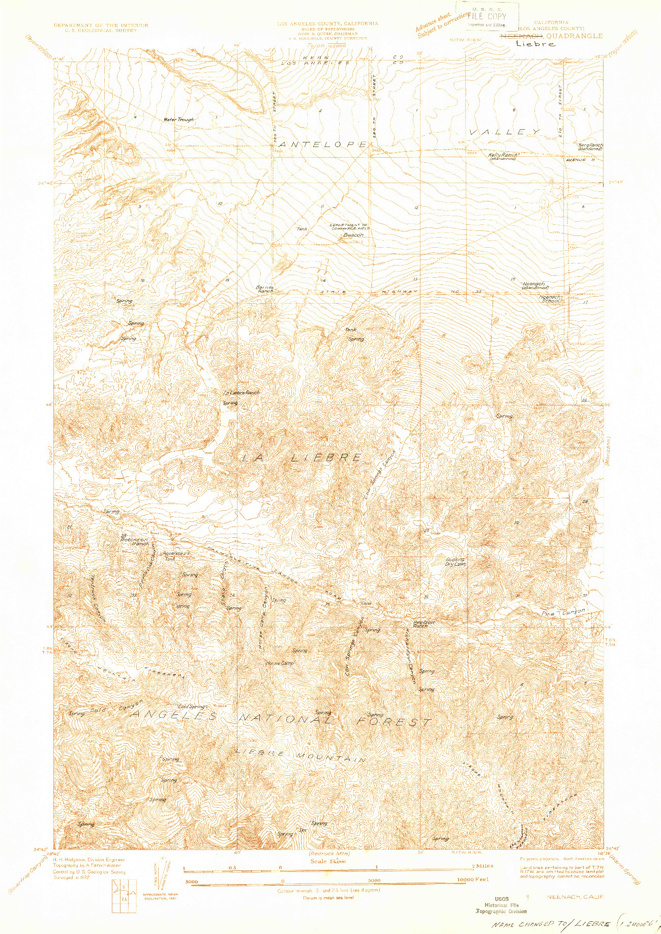 USGS 1:24000-SCALE QUADRANGLE FOR NEENACH, CA 1932