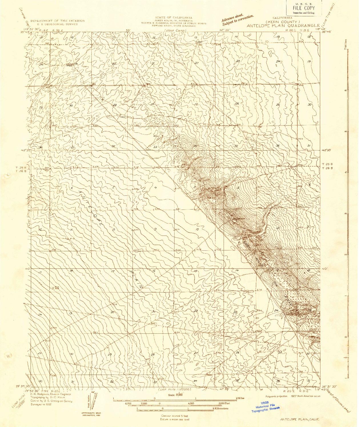 USGS 1:31680-SCALE QUADRANGLE FOR ANTELOPE PLAIN, CA 1932