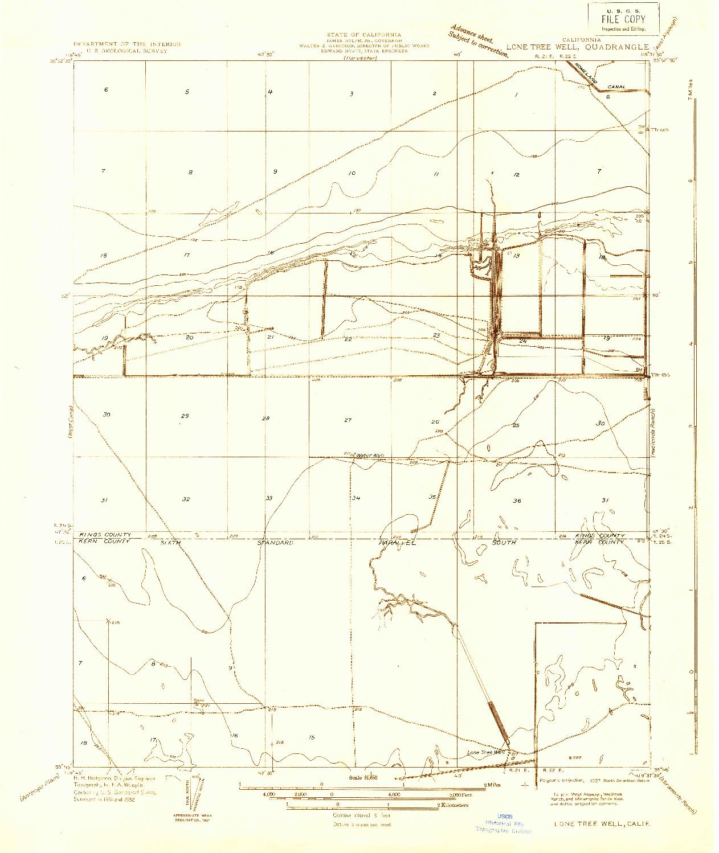USGS 1:31680-SCALE QUADRANGLE FOR LONE TREE WELL, CA 1932