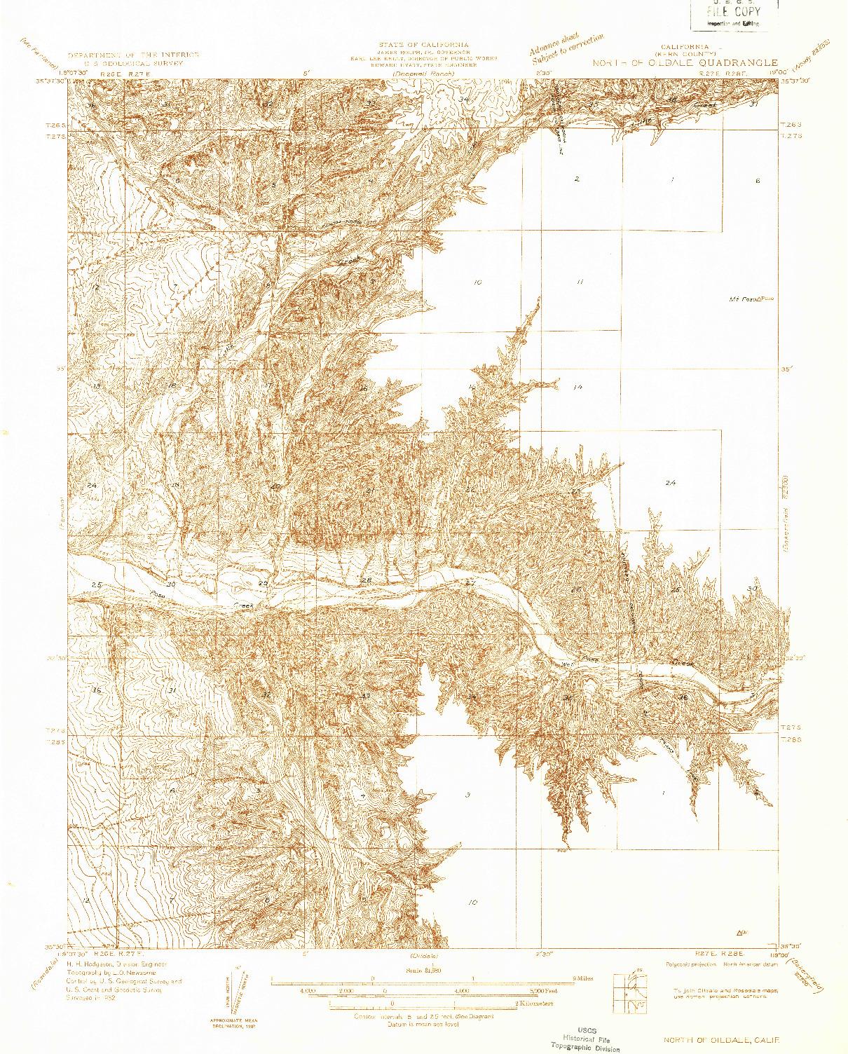 USGS 1:31680-SCALE QUADRANGLE FOR NORTH OF OILDALE, CA 1932