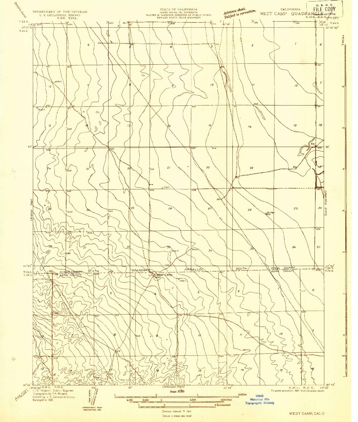 USGS 1:31680-SCALE QUADRANGLE FOR WEST CAMP, CA 1932