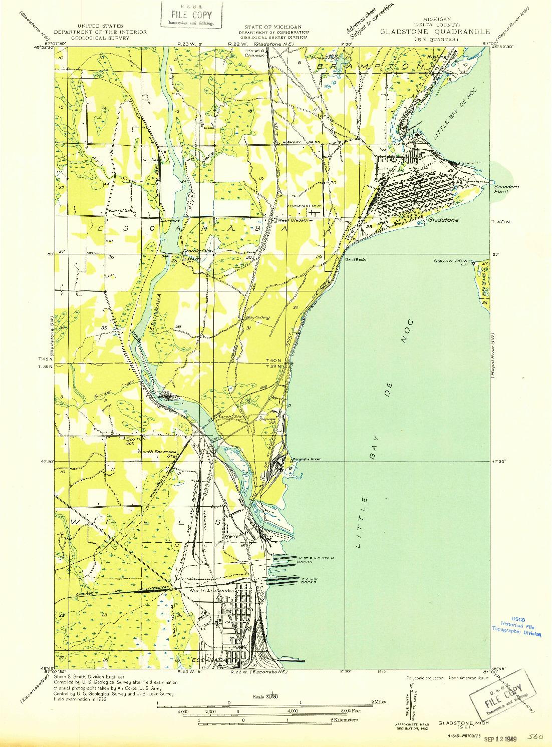 USGS 1:31680-SCALE QUADRANGLE FOR GLADSTONE SE, MI 1932