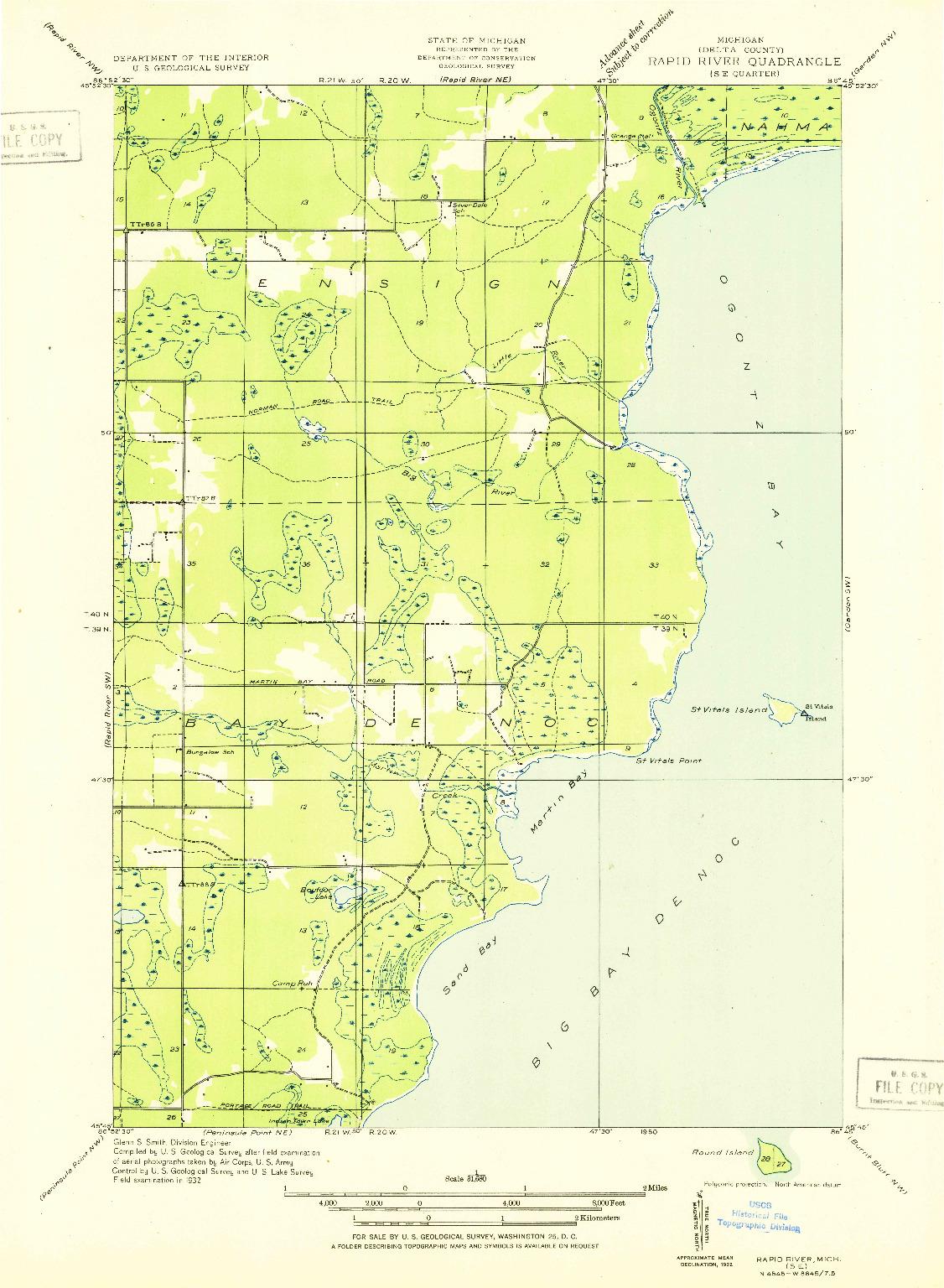 USGS 1:31680-SCALE QUADRANGLE FOR RAPID RIVER SE, MI 1932