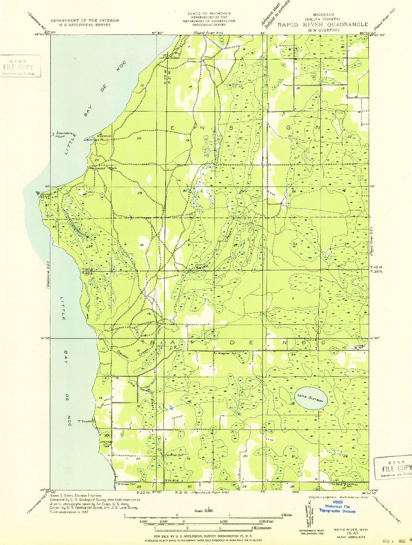 USGS 1:31680-SCALE QUADRANGLE FOR RAPID RIVER SW, MI 1932