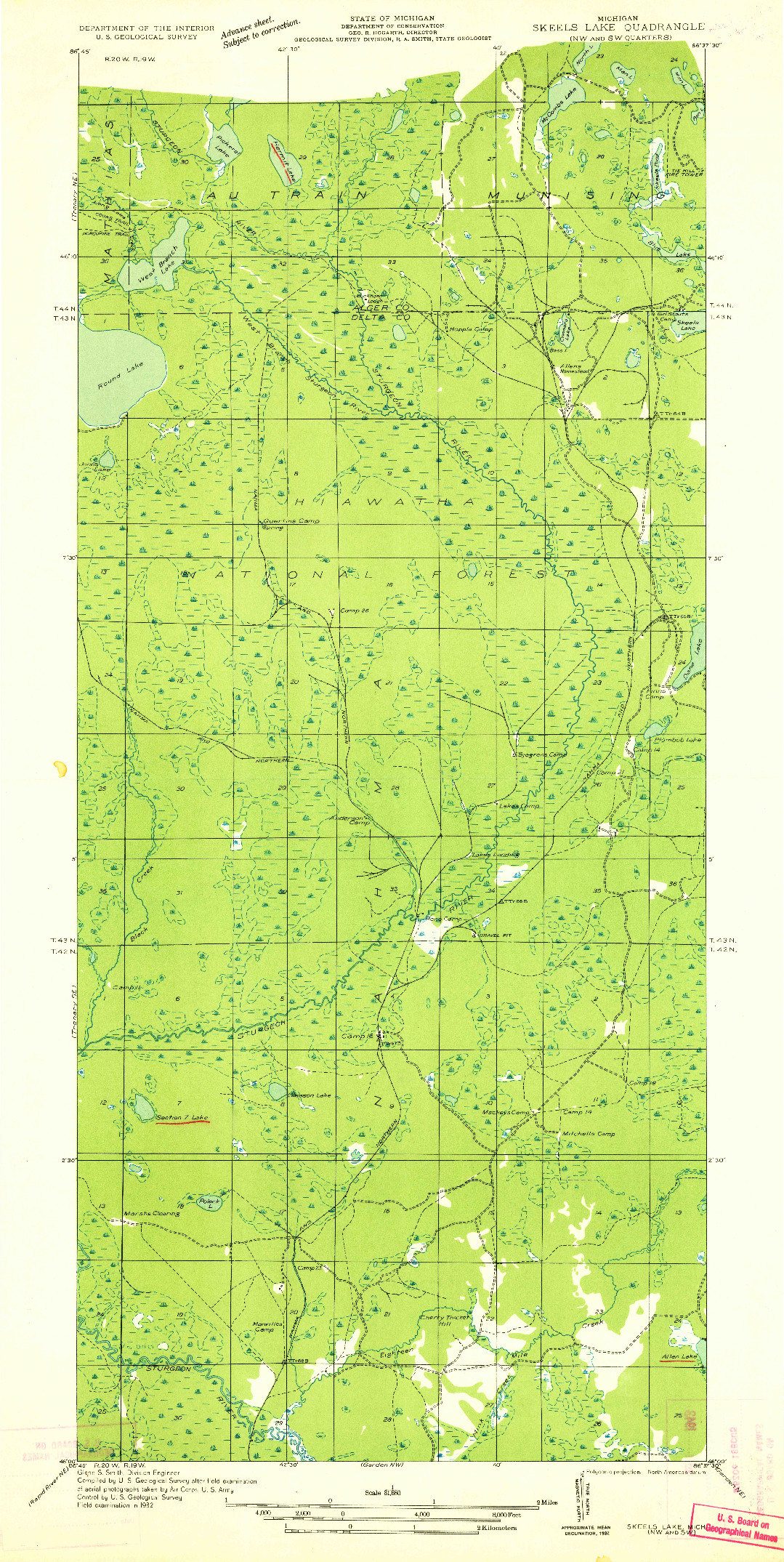 USGS 1:31680-SCALE QUADRANGLE FOR SKEELS LAKE NW AND SW, MI 1932