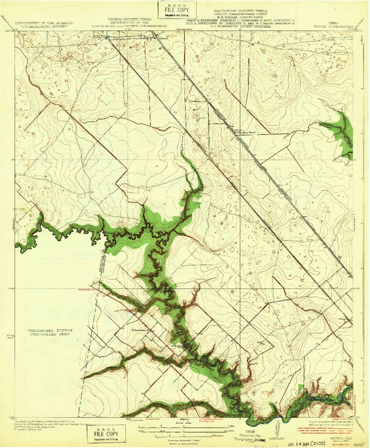 USGS 1:31680-SCALE QUADRANGLE FOR GENOA, TX 1932