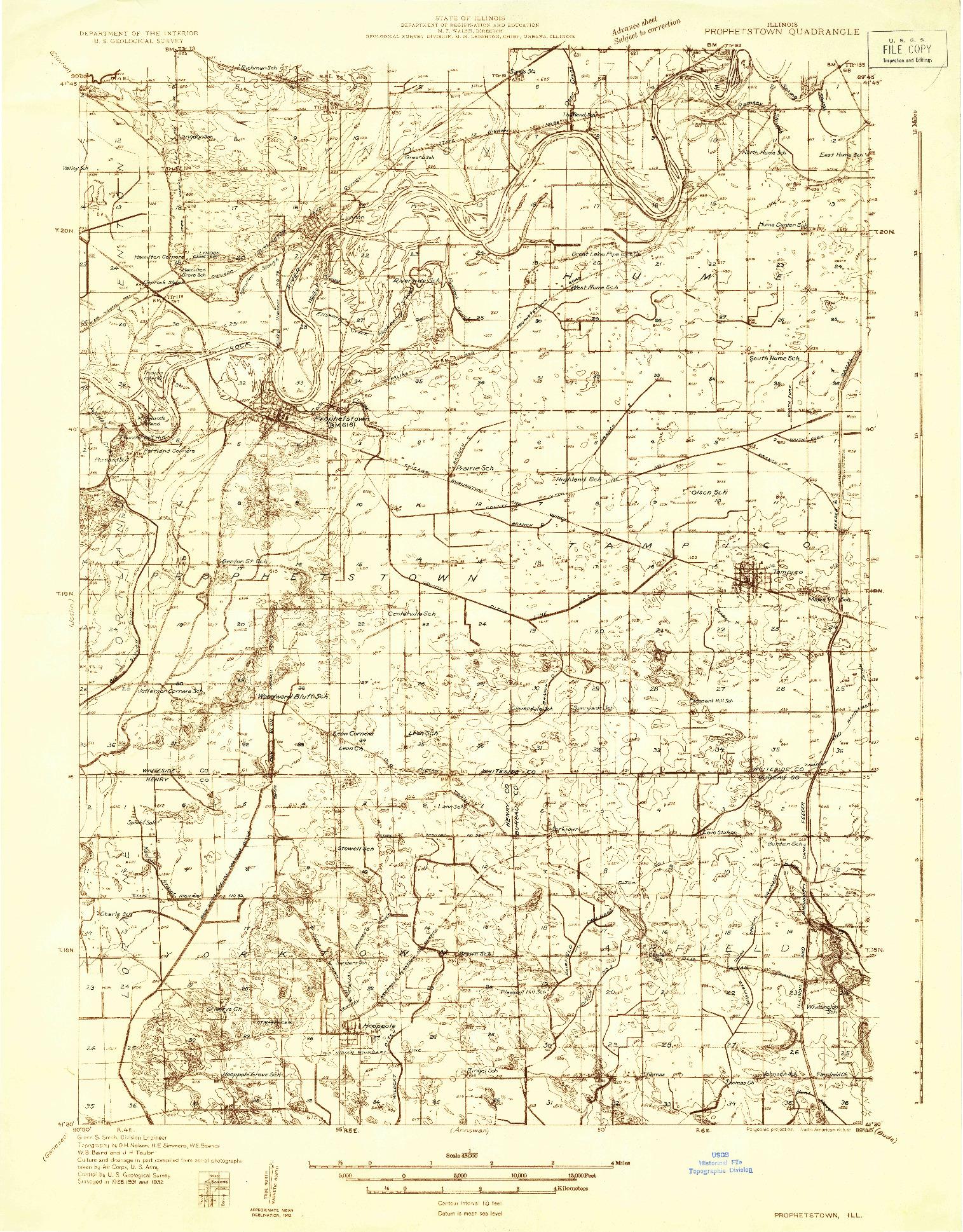 USGS 1:48000-SCALE QUADRANGLE FOR PROPHETSTOWN, IL 1932